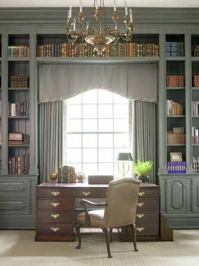 """Tailored and Dependable...The Box Pleat -- Here's a nice shaped version, so fitted and tailored."" -- This is supposed to be all about the window treatment, but I'm loving the library!"