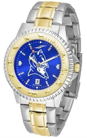 Duke Blue Devils NCAA Mens Two-Tone Anochrome Watch by SunTime. $93.95. Links Make Watch Adjustable. AnoChrome Dial Enhances Team Logo And Overall Look. Men. Two-Tone Stainless Steel. Officially Licensed Duke Blue Devils Men's Stainless Steel and Gold Tone Watch. The perfect balance between sport and prestige. The Competitor AnoChrome with a Two-Tone Band is accented with a gold-plated rotating bezel timer central band links and crown piece. This timepiece is also...