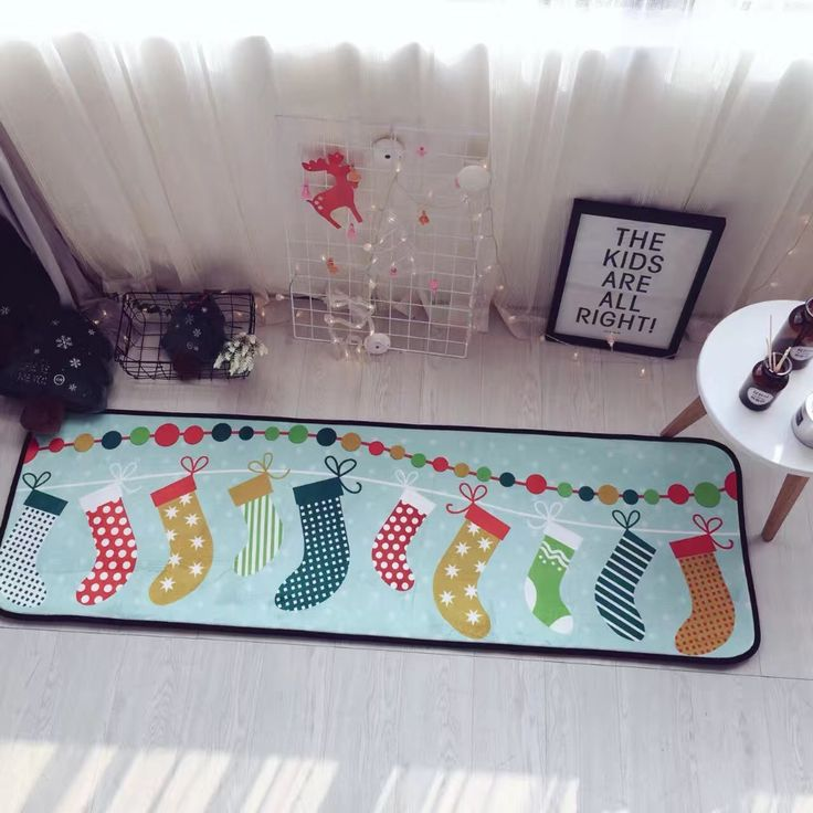 55x150cm Christmas Socks Kitchen Mat Kids Room Rugs And Carpets Balcony/Wardrobe Floor Mat Sliding Doors Area Rug