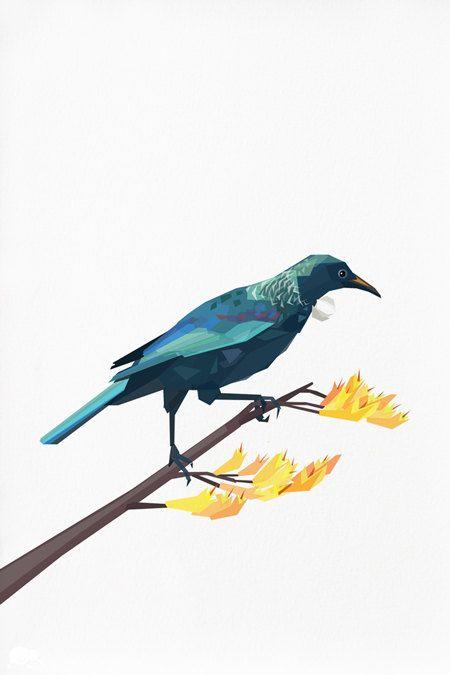 Geometric illustration NZ Tui Bird print by tinykiwiprints on Etsy
