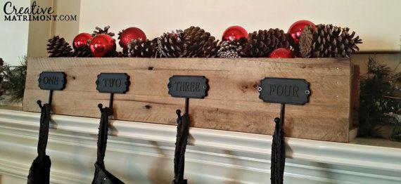 Custom Rustic Reclaimed Wood Fireplace Mantle Stocking Holder