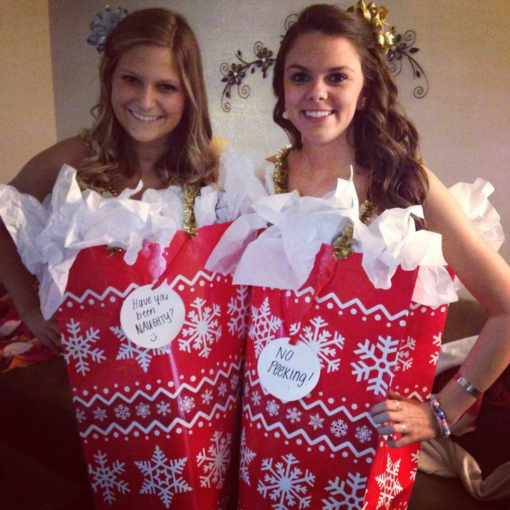 Christmas gift bag costume #diy  #christmas #costume @Rachel Ashbrook this will be us next year for the grab a date