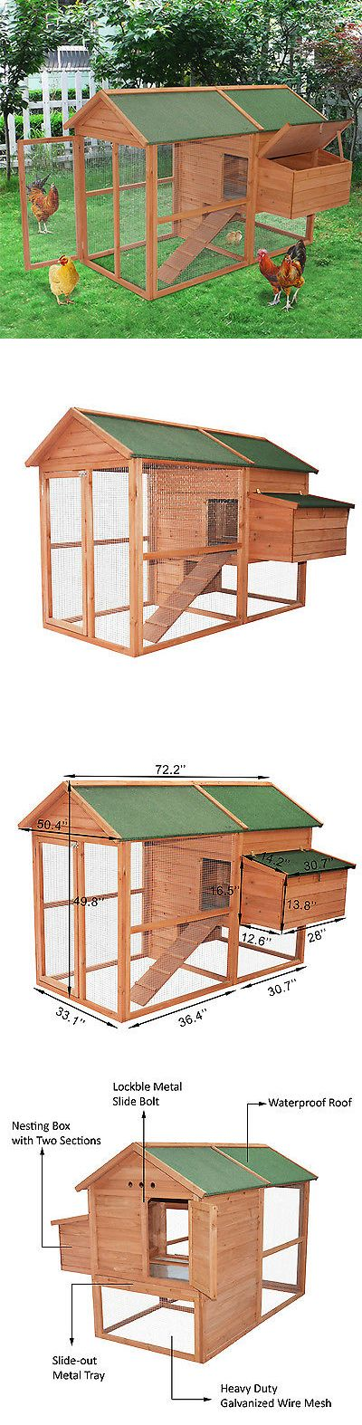 Backyard Poultry Supplies 177801: Large Wooden House Chicken Coop Rabbit Hutch Backyard Poultry Habitat Hen W/Run BUY IT NOW ONLY: $279.99