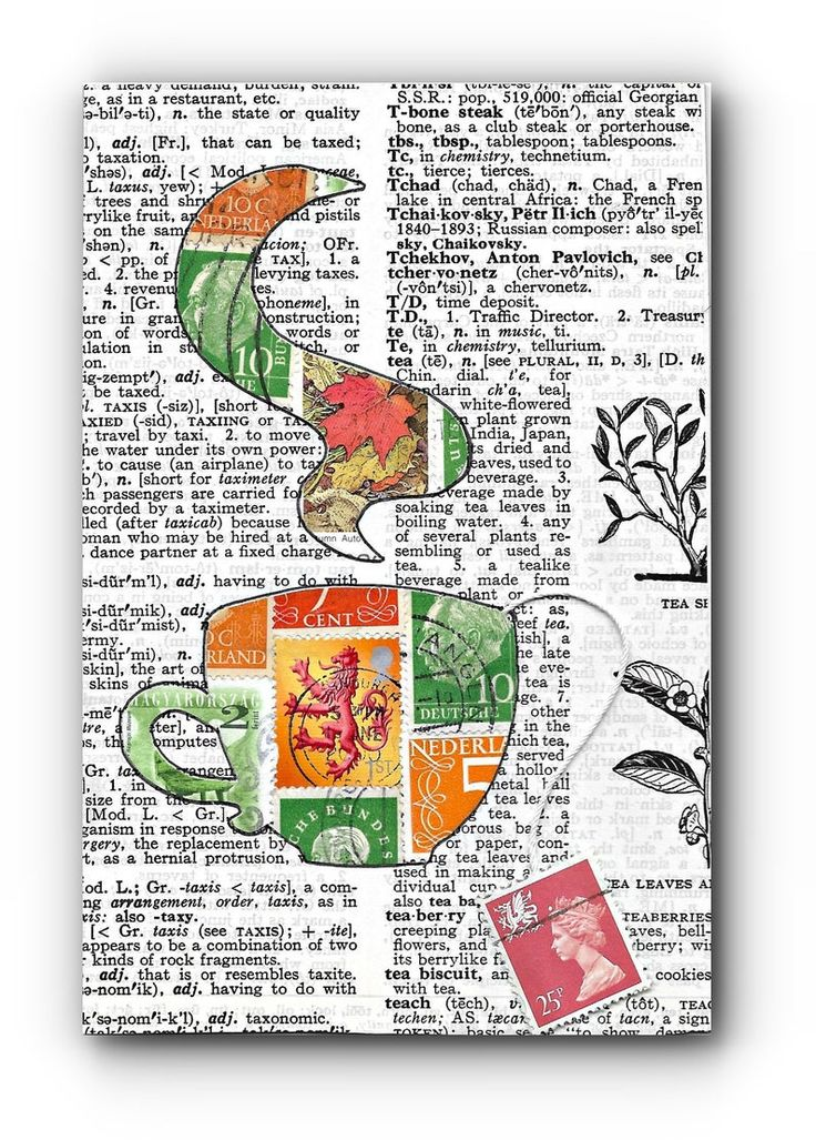 Tea Lover's Postage Stamp Vintage Collage with easel Dictionary Art Stamp Collector Teacup Mail Carrier Gift