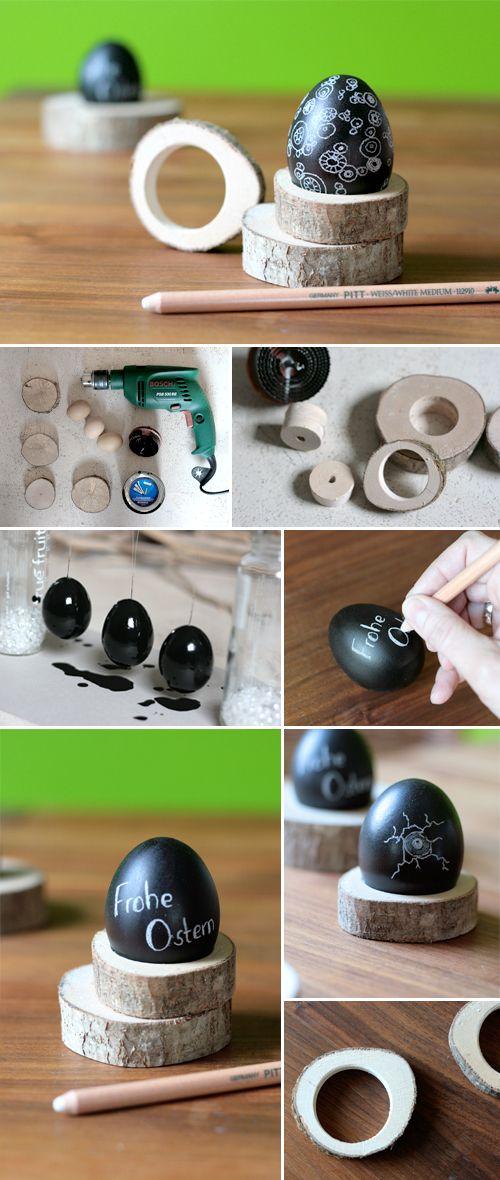 Gingered Things - DIY, Deko & Wohndesign: Osterdeko aus Tafellack & Holzscheiben