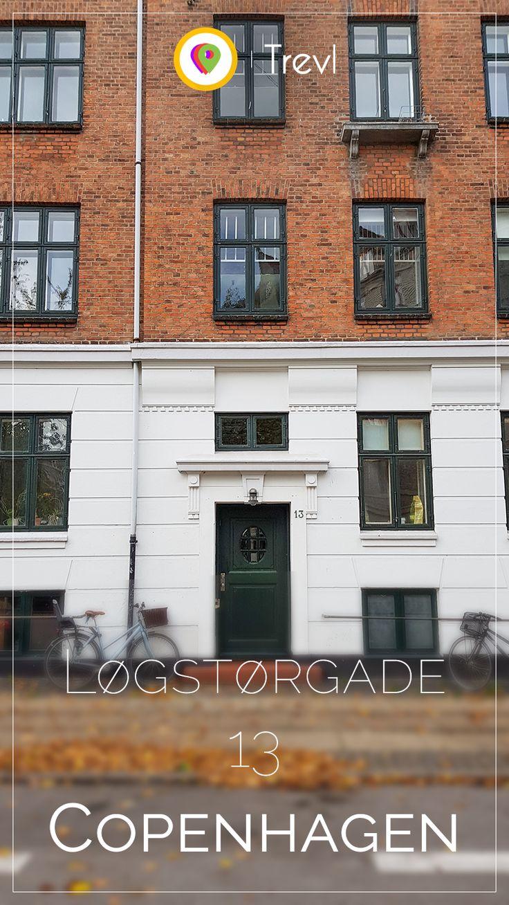 Beautiful entrance and facade of an apartment house in Østerbro in Copenhagen, Denmark
