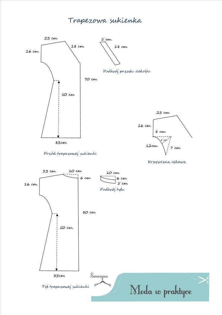 sukienka trapezowa wykrój - Szukaj w Google
