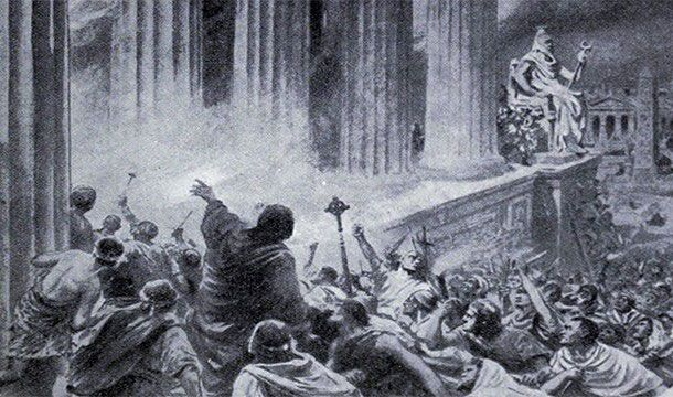 No one was held responsible for the burning the great library of Alexandria. But it was considered the single greatest loss of knowledge in the world ever.