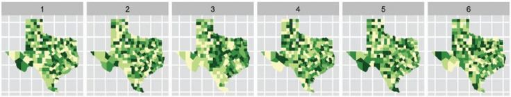 Choropleth maps of cancer deaths in Texas, Graphical Inference for Infovis, Wickham et al., 2010.