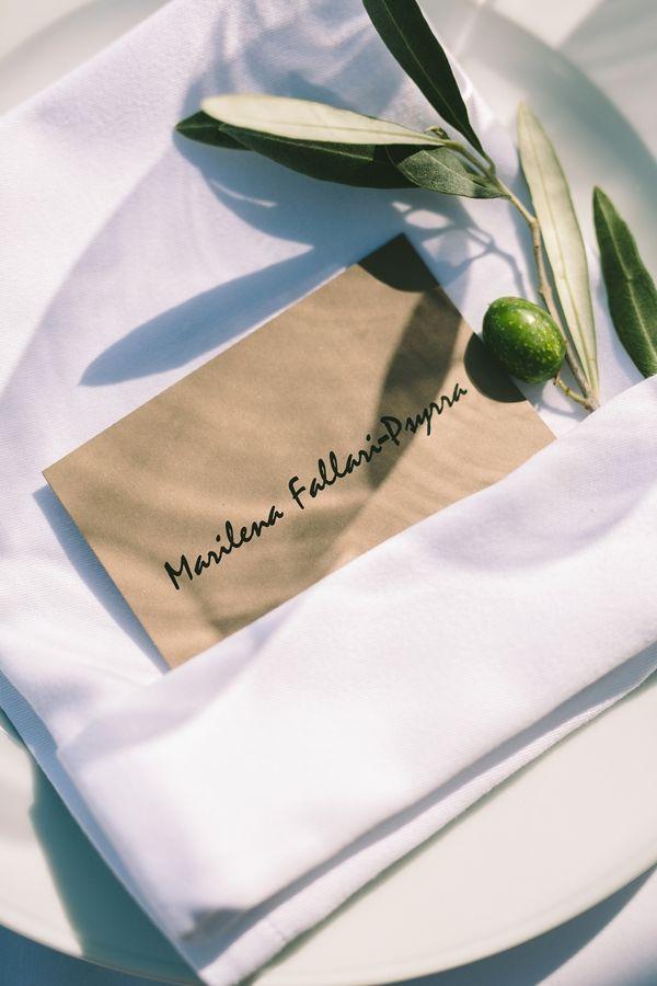 Olive branch theme wedding | Reception place cards | Destination Wedding in Mykonos
