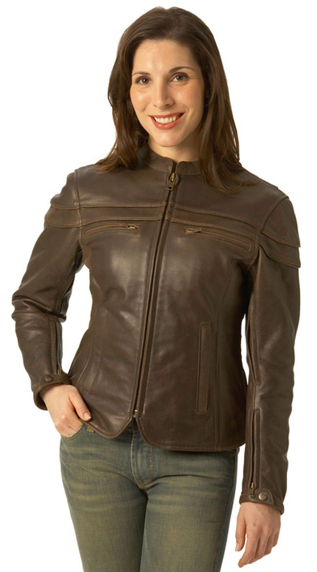 Ladies Brown Sporty Scooter Jacket  *     Soft Naked Touch Brown Cowhide 1.2-1.3mm *     Mandarin collar, stripe detailing, & hidden zippers give sporty look *     Perforated action back for extra look and air flow *     Full opening zippered sleeve cuffs, great fit, easy to put on and         comfortable to wear *     Side zips at the bottom for more comfort *     2 sleeve and 2 pocket vents with heavy mesh inner liner for full ventilation *     4 outside pockets and 2 inside pockets for…