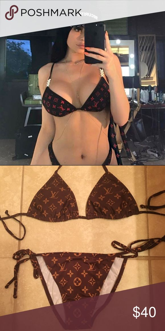 Louis Vuitton Monogram Bikini XS / Small Louis Vuitton inspired swimsuit. As seen on Kylie Jenner. Only worn 1x. Clean and in comes in carrying pouch Louis Vuitton Swim Bikinis