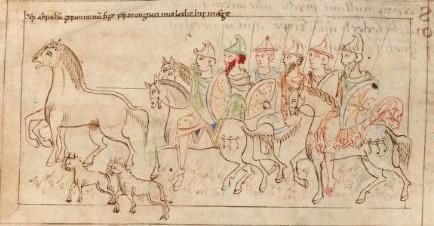 Abraham returns victorious after freeing Lot Prudentius' Psychomachia 'Conflict Of The Soul' Corpus Christi College, Ms. 23, c.1000 Anglo-Saxon