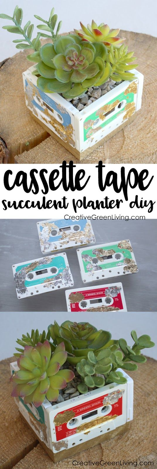 Upcycle your old cassette tapes into a cool DIY succulent planter with this tutorial from Natalie Shaw of Doodle Craft.