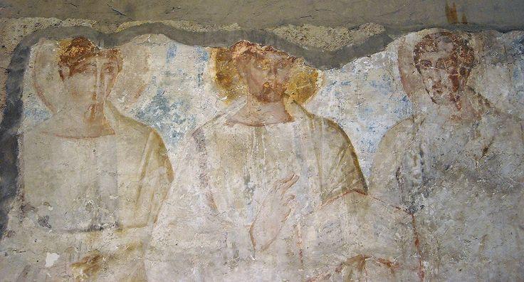 Catacombe di San Gennaro, Napoli. l'affresco del V secolo o dell'inizio del VI secolo. Cristo con i santi