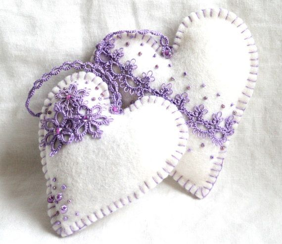 Heart Lavender Lilac and Lace Tatted Heart Felt Sachets