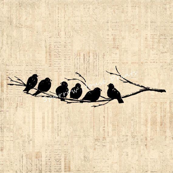 Antique Art Birds on Tree Branch Wall Art Bird Print Vintage Artwork with Vintage Script Paper Background No.3698 B4 8x8 8x10 11x14, $12.00