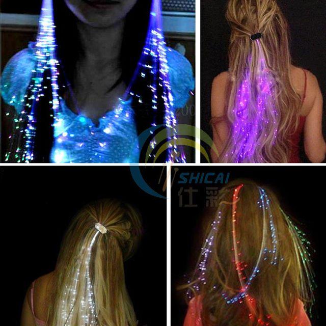 Flash LED Cheveux Lumière Émettant Fiber Optique Tresse Tresse Tresse Lumineux Cheveux Perruque KTV Partie De Bal Fournitures Cheveux Accessoire coiffe