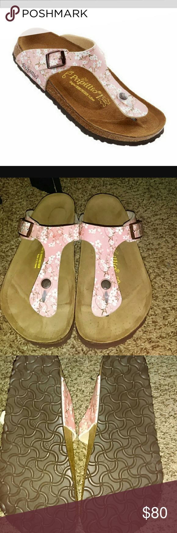 NWOT Birkenstock Sandal Papillio by Birkenstock Gizeh Floral Print Thong Sandals  Worn ONCE INSIDE the house, these are NEW!! Even the bottom of the shoes is perfect!!! No flaws!!! As I've stated here before I normally do NOT keep shoe boxes (Too many shoes not enough closet space hehe)  :( so no box!! These are beautiful!! Wish they fit better, my foot is super wide :( needs a loving home these were LIMITED ADDITION, you will NOT find these anywhere else size 38/L7  100% AUTHENTIC!!   NO…