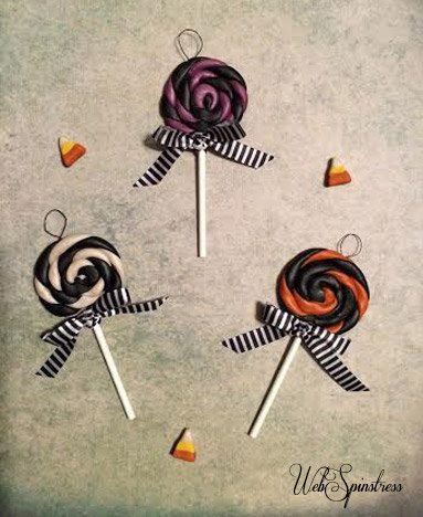 Handmade Halloween Tree Ornaments - Vintage Swirly Pops by WebSpinstress on Etsy