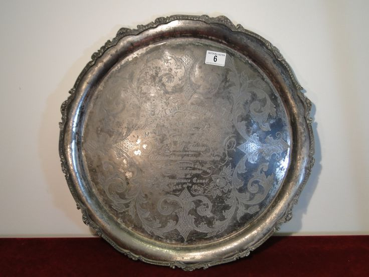 "6	Large and ornate mid Victorian serving tray with interesting ""Temperance Cause"" inscription for June 1860  50cms diameter	40/60"