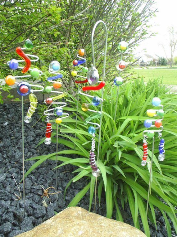 3 Garden Art Plant Stick Colorful Sun Catcher FuNkY by AllegroArt