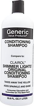 Generic Value Products Conditioning Shampoo compare to Clairol Shimmer Lights Original Conditioning Shampoo 33.8 oz.