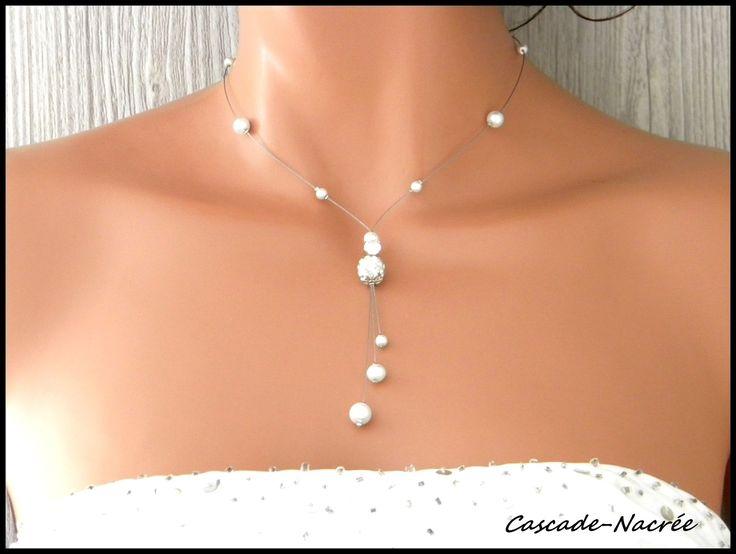 collier blanche Axelle cristal blanc mariée alu argenté perle mariage bijoux : Collier par bijoucascadenacree