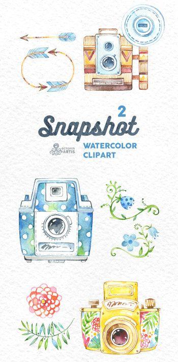 Snapshot2. Wasserfarben handbemalt Kameras Clipart von OctopusArtis