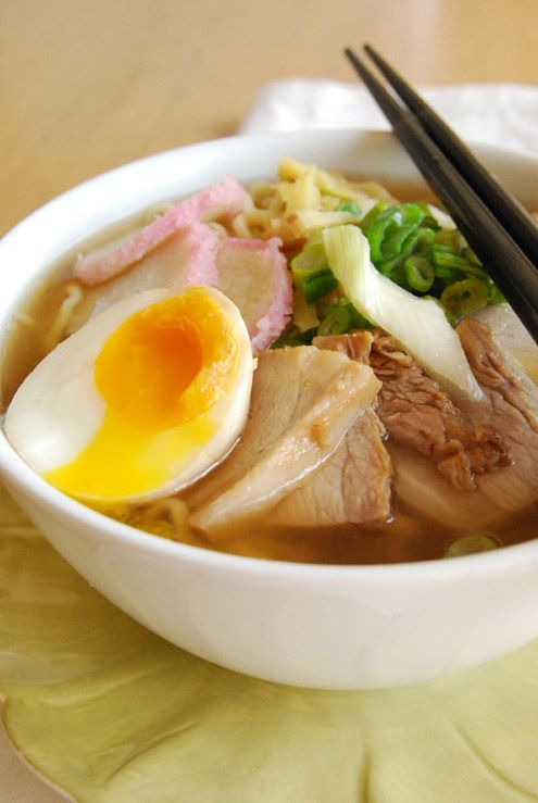 Yakibuta Pork Ramen Recipe 150gr (1¼ cup) of flour with high protein content 150gr (1¼ cup) of durum wheat flour 1 pinch of baking soda 125ml hot (not boiling) water (1/2cup) 600gr of lean pork belly 2 eggs 1lt water + the water to cook the pork 1 knob of ginger 2 spring onion 2 tbsp saké 5 tbsp soy sauce 2 tbsp mirin 2 tbsp powdered dashi stock 1 tsp of sugar