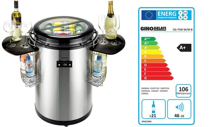 Party Kühlschrank für Flaschen und Dosen Syntrox GG-75W-B, Edelstahl/Schwarz