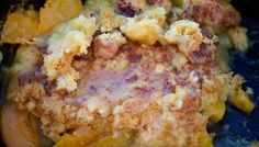 Dutch Oven Peach Cobbler: 2 cans sliced peaches, 1 box of yellow cake mix, 12 oz 7UP, Ground cinnamon -- Directions: 1) Add peaches of both cans to the oven. 2) Dump in the cake mix and level it. 3) Pour 7UP on top as evenly as possible. 4) Sprinkle the cinnamon on top. 5) Close the lid, place the oven on a small bed of coals, add more coals on top of the lid. 6) Let it cook for 45 minutes.
