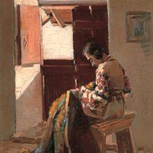 Βάσος (Βασίλειος) Γερμενής (1896-1966), Ράβοντας δίπλα στο παράθυρο, λάδι σε ξύλο, 40,5 x 30 εκ., Έργα Τέχνης της Βουλής των Ελλήνων