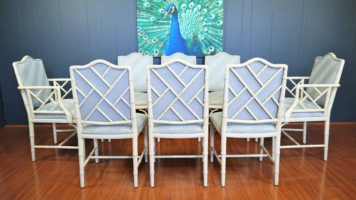 1970s Vintage Faux Bamboo Dining Chairs :: Set of 8