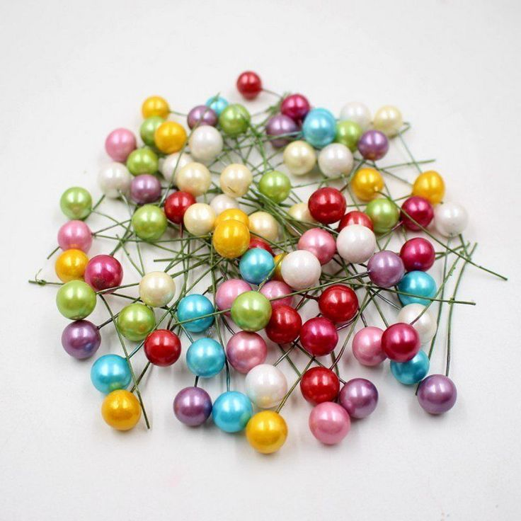 50p Artificial Flower Beads Stamens Pearl Wedding DIY Gift Boxes Decorated Chic  | eBay