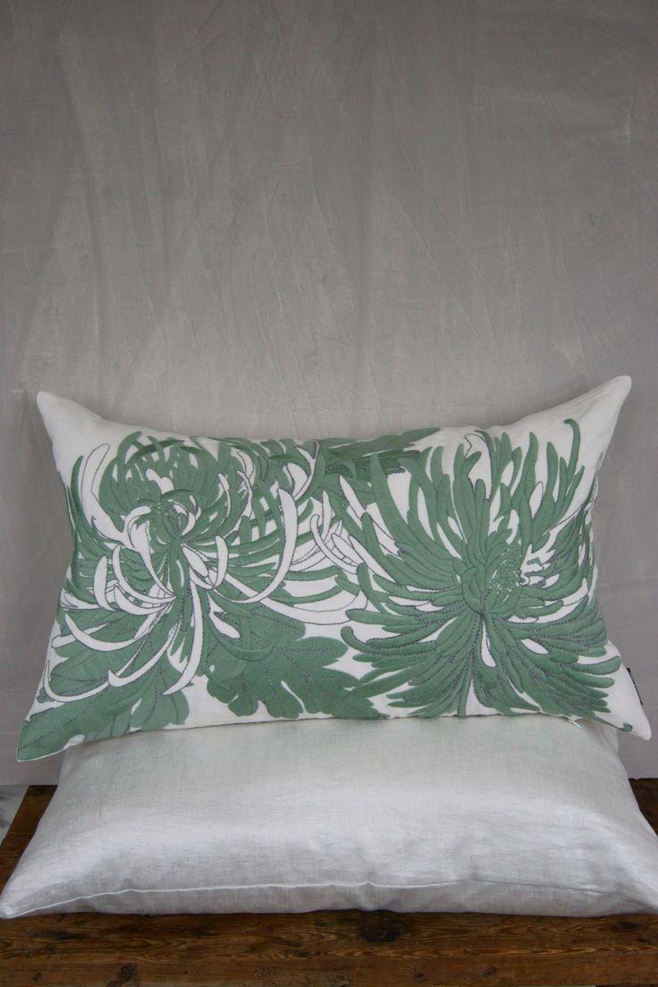 Adam&Viktoria S/S-14 Chrysanthemum on washed linen + silver printed linen cushion  #green #embroidery #lisafontanarosa