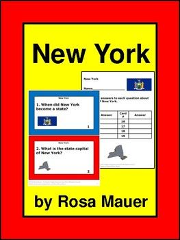 These 8 short-answer questions are all about the state of New York. The questions don't correspond with a book. Text is available in task card and worksheet formats. A response form for students and answers for the teacher are provided.  Buy this product as part of a bundle:  USA State Facts Social Studies Bundle  Follow me to receive notice when FREE and paid products are added to my store.