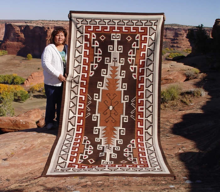 Navajo Rug, Churro # 1201, Old Style Crystal, Woven By Geraldine Phillips