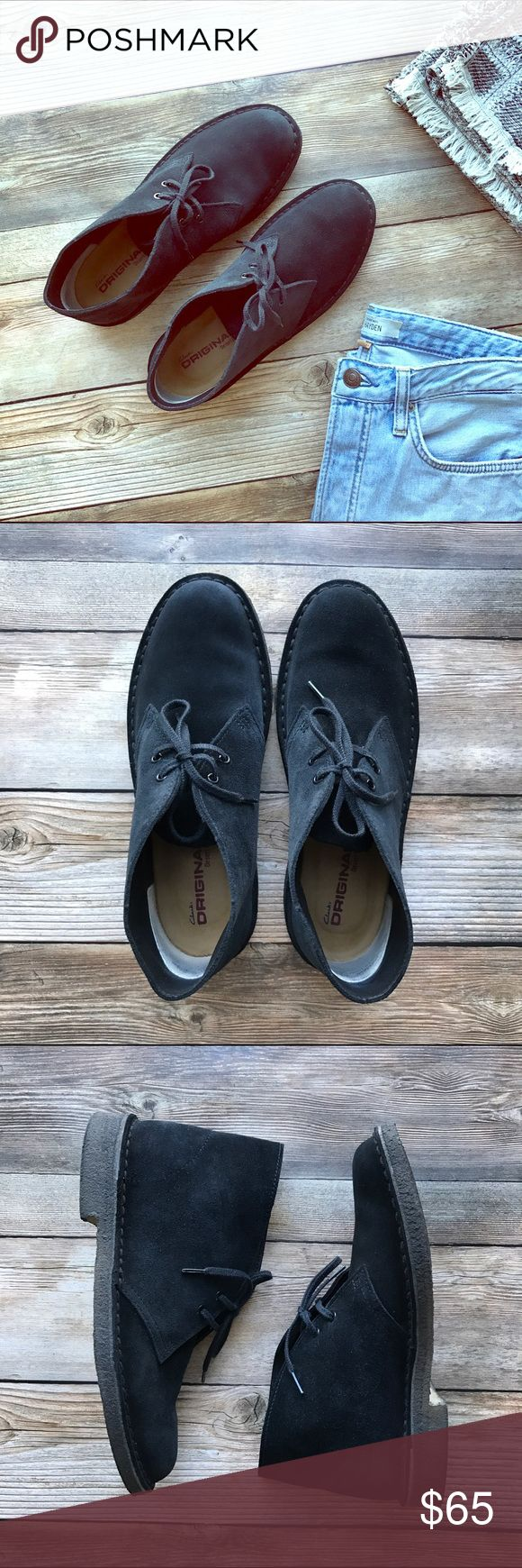Clarks Womens Desert Boots US 7.5 Black Suede Clarks Womens Desert Boots - Size US 7.5 (footbed 24.5 cm). Upper material - suede. Lining material - leather. Worn a few times! Excellent condition! Clarks Shoes Ankle Boots & Booties