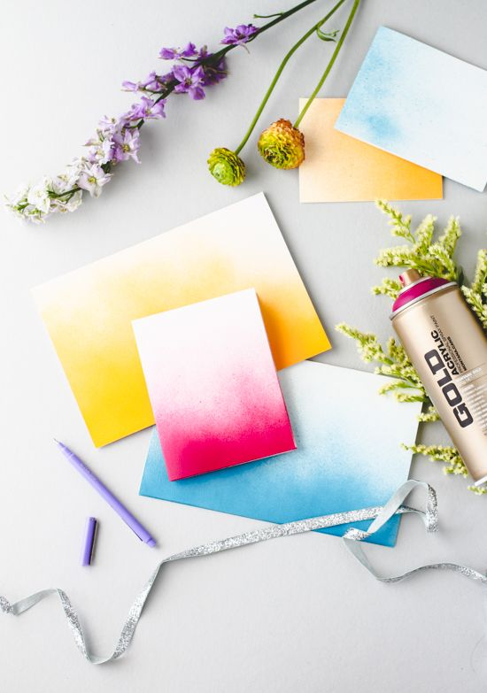 Make ombre greeting cards with Paper and Stitch #papercraft #ombre #tutorial