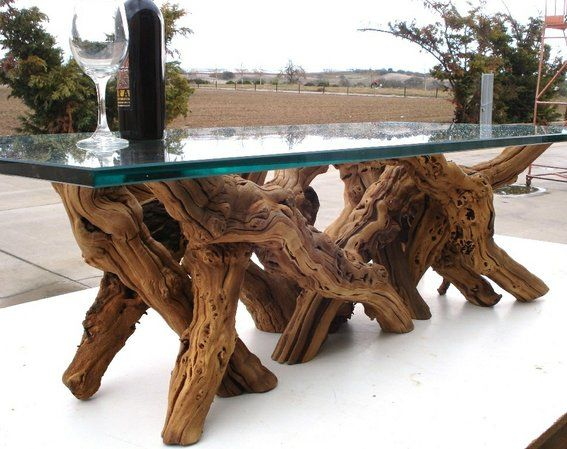 Old vine grapevine coffee table made of 100% recycled, natural & organic wood by Wine Country Craftsman | I would love this for my fancy garden one day, in a round shape.