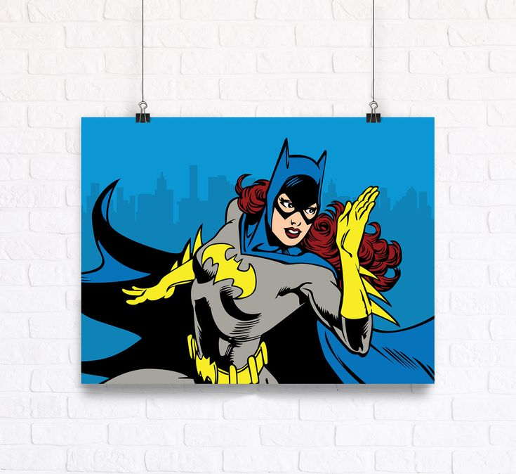 Batgirl Illustration Customizable Comic Wall Art Print