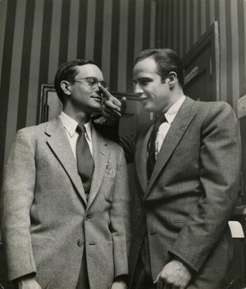 "wehadfacesthen: ""Wally Cox and Marlon Brando, 1950′s """