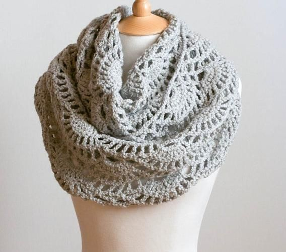 Crochet Pattern For Cowl Scarf : Lacy Grey Cowl - crochet scarf pattern My Style Pinterest