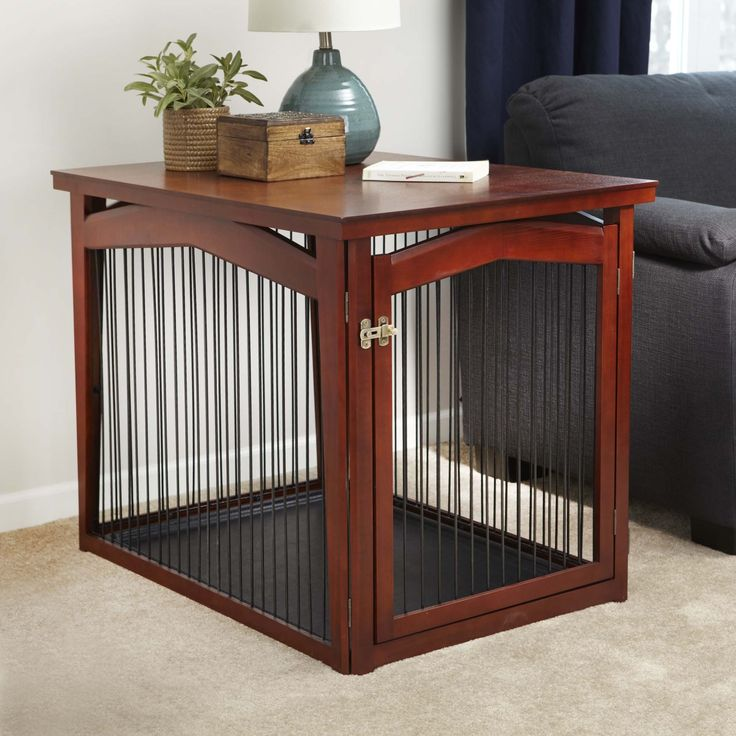 The Configurable Dog Gate and Crate provides your dog with a secure resting area and also functions as an accent piece of furniture in your home. The crate includes a solid wood veneer cover, complementing most decor.