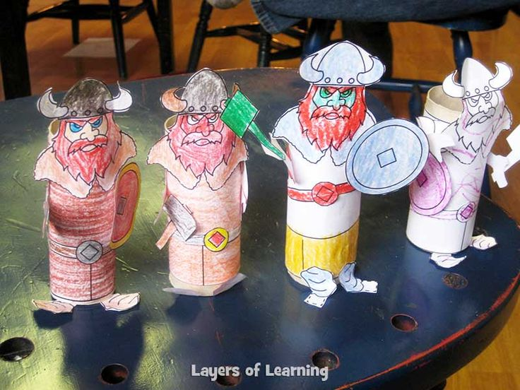Make this viking people craft from DLTK and color a Viking Raid and Trade map from Layers of Learning.