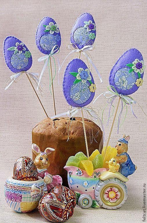 Купить Пасхальные украшения яйца (набор) - сиреневый, яйцо пасхальное, пасхальный сувенир, из фетра