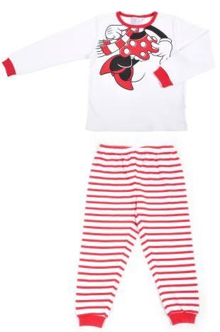 Pijamas para niña, en color blanco y con rayas rojas. Estampado con el cuerpo de Minnie.