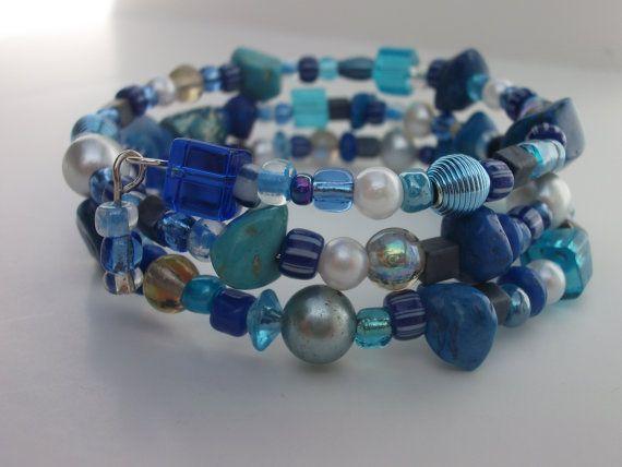 Blue Bead Bracelet Chunky Blue Bracelet Wrap Bracelet by mscenna, $10.00