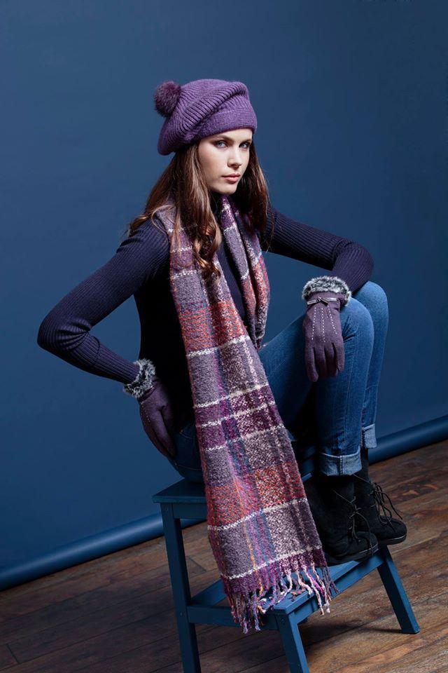 Pia Rossini purple check blanket scarf, purple pom pom slouchy hat